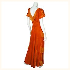 Vintage 1930s Long Dress Orange Velvet Evening Gown Bias Cut with Lace Size M