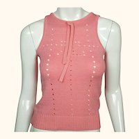 Vintage 1970s Courreges Shell Top Pink Cotton Acrylic Blend Knit Size S