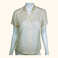 Vintage 1960s Floral Embroidered Pure Silk Blouse Short Sleeve Shirt Size M 36