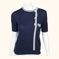 Vintage 1970s Courreges Paris Logo Sweater Top Blue Cotton Acrylic Blend Knit S