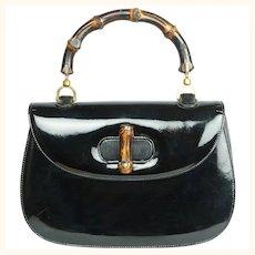 Vintage 1960s Gucci Iconic Bamboo Handle Handbag Purse Black Patent Leather 0633
