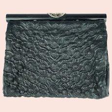 Art Deco Clutch Purse 1920s 30s Molded Leather Rosettes w Japonaiserie Silver