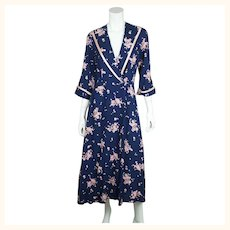 Vintage 1950s Rose Floral Chintz Dressing Gown Lounging Robe Kamore Ladies Sz M