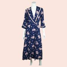 Vintage 1950s Rose Floral Chintz Dressing Gown Lounging Robe Kamore Ladies Sz M