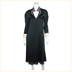 Vintage 1970s Jean Muir Black Jersey Dress  with Pink Stitching Size M L
