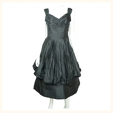 Vintage 1950s Black Silk Taffeta Ball Gown Dress w Bubble Balloon Skirt Size M