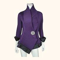 Vintage 1980s New Wave Purple Pleated Jacket Ladies Size S