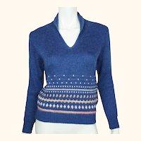 Vintage Courreges Paris Mohair & Acrylic Knit Sweater 1970s Pullover Ladies Sz M