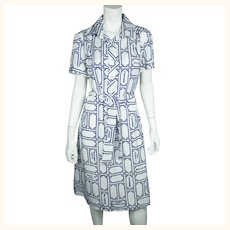 Vintage 1970s Lanvin Dress Paris Street Map Print on Polyester Size 18 XL