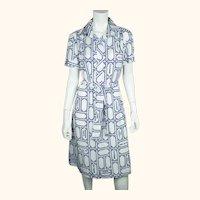 Vintage 1970s Lanvin Dress Paris Street Map Print on Polyester Size 18 XL