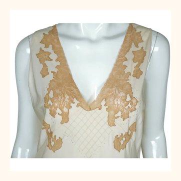 Vintage 1940s Cream Silk Nightie with Ecru Lace Hand Made Nightgown Size 16