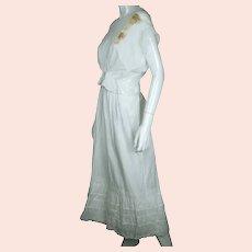 Antique Edwardian White Cotton Petticoat & Chemise Set w Lace Trim Size M / L