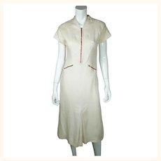 Vintage 1930s Linen Day Dress B Altman & Co Paris New York Size Medium
