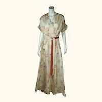 Vintage 1940s Dressing Gown Floral Chintz Taffeta Lounging Robe Mme Sarette Sz M