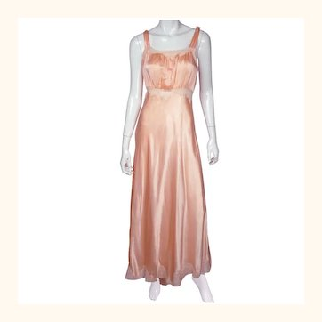 Vintage 1940s Nightie Pink Satin Nightgown with Train & Lace Trim Size M