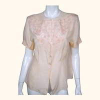 Vintage 1940s Unused Embroidered Pink Silk Blouse NOS Chinese Store Size M L