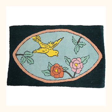 Vintage Folk Art Hooked Rug Bird & Flower Scene Deco Era 1920s 30s