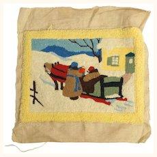 Vintage Canadian Folk Art Hooked Wall Rug Quebec Winter Scene Clarence Gagnon