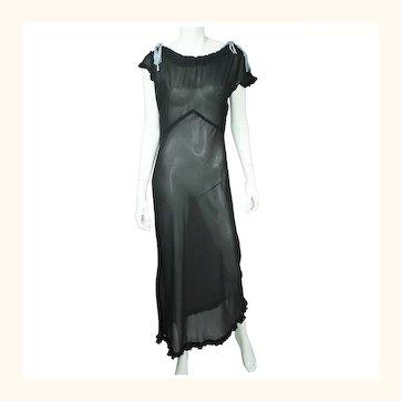 Vintage 1930s Black Silk Chiffon Nightie See Through Nightgown Size Large