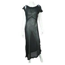 Vintage 1930s Black Silk Chiffon Nightie See Through Nightgown Size Large