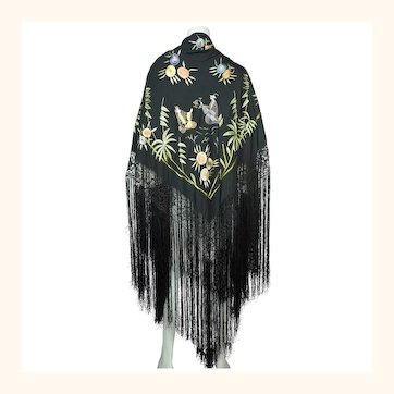 Art Deco Chinese Canton Silk Embroidered Shawl People with Floral Embroidery