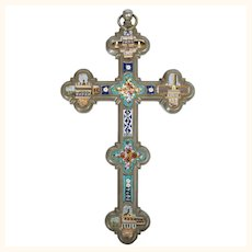 Antique Italian Micro Mosaic Tile Crucifix Cross Grand Tour Souvenir of Rome