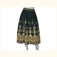 Vintage 1970s Indian Skirt Banjara Embroidered w Shisha Mirror Embroidery Size M