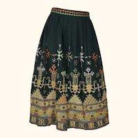 Vintage 1970s Indian Skirt Banjara Embroidered w Shisha Mirror Embroidery Size M