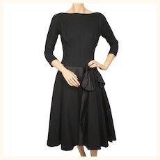 Vintage 1950s Party Dress Black Wool and Satin Size Medium