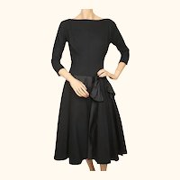 Vintage 1950s Party Dress Black Wool and Satin Size Medium