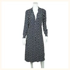 Vintage 1930s Day Dress Navy Blue with White Polka Dots Casually Young Size L XL