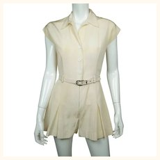 Vintage 1930s 40s Tennis Uniform Dress Playsuit One Piece Skort Size M