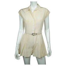 Vintage 1930s 40s Tennis Uniform Dress Playsuit One Piece Skort Size M
