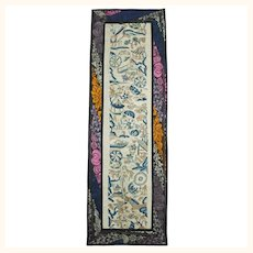 """Antique Chinese Silk Embroidered Sleeve Band Forbidden Stitch Embroidery 7""""x 21"""""""