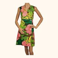 Vintage 1960s Bold Floral Print Cotton Dress By Calypso Jamaica Size 14 Colorful
