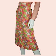 Vintage Miss Dior Floral Skirt 1970s Unused Old Stock NOS Cotton Linen Size M