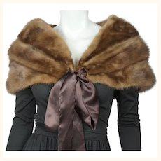 Vintage 1950s 60s Mink Fur Stole Shrug w Ribbon Tie Closure Pastel Brown Size M