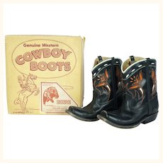 Vintage 60s Acme Cowboy Boots for Children Leather with Box