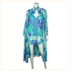Vintage 1970s Emilio Pucci Nightie Peignoir Formfit Rogers L