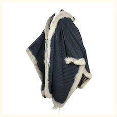 Vintage Turkis Tukku Finland Fox Wool & Cashmere Poncho Coat