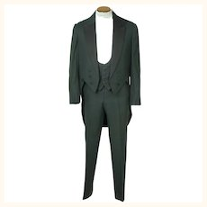 Antique Mens Tuxedo Formal Tails with Waistcoat & Pants Sz M
