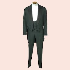 Antique Mens Tuxedo Formal Tails with Waistcoat & Pants Sz M