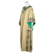 Vintage 80s Caftan Dress Miss Egypt Beaded Silk Signed Size M