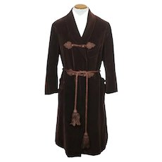 Vintage 1910s 20s Mens Dressing Gown Brown Velvet Size M