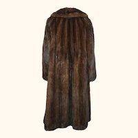 Vintage Mink Coat Dark Brown Labelle Furs Size L