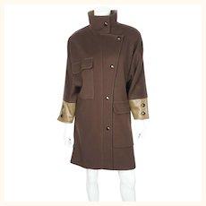 Vintage 70s Dejac Paris Brown Wool Coat w Leather Trim Sz M