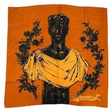 Vintage 60s Christian Dior Silk Scarf Roman Emperor Bust