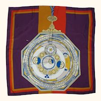 Vintage NWT 80s Gucci Silk Scarf Astrology Zodiac Pattern