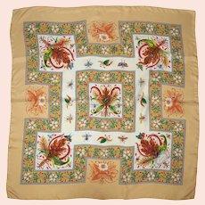 """Vintage 70s Gucci Silk Scarf Vittorio Accornero Insects 34.5"""""""