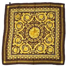 Vintage Atelier Versace Scarf Baroque Silk Twill Square